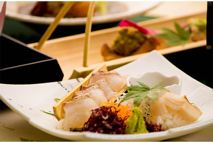 京都 綾部の料亭 ゆう月 9月 会席料理 会席料理 御造り 刺身 熟成 昆布締め 寿司