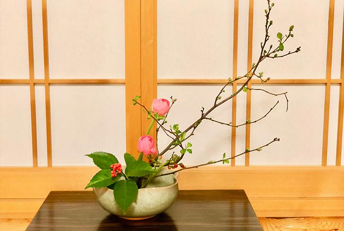 冬の生け花 ボケ ラナンキュラス