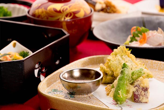 冬の会席料理 天ぷら 牡蠣 カキ