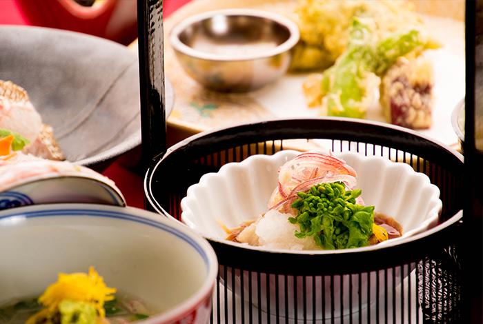 冬の会席料理 酢物 菜の花 ポン酢
