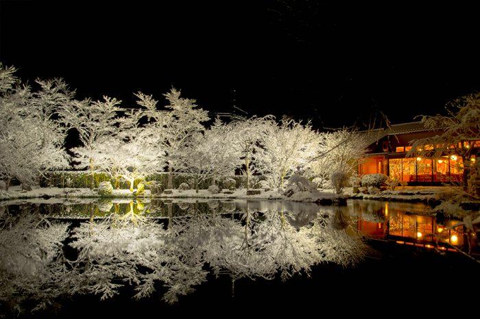 ゆう月 冬の庭園 雪景色 池に映る ライトアップ
