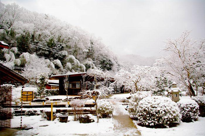 冬の庭園 雪山 借景 水墨画のよう
