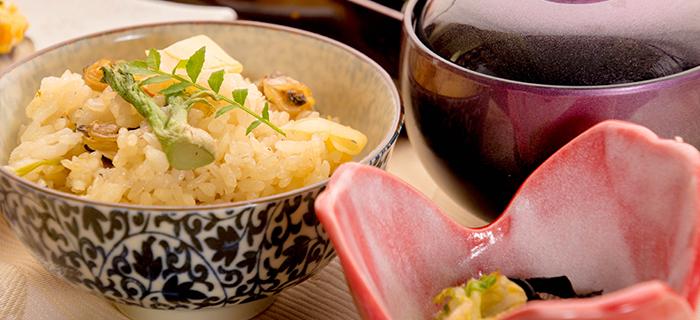綾部の料亭 ゆう月 春の会席料理 浅利と山菜の御飯