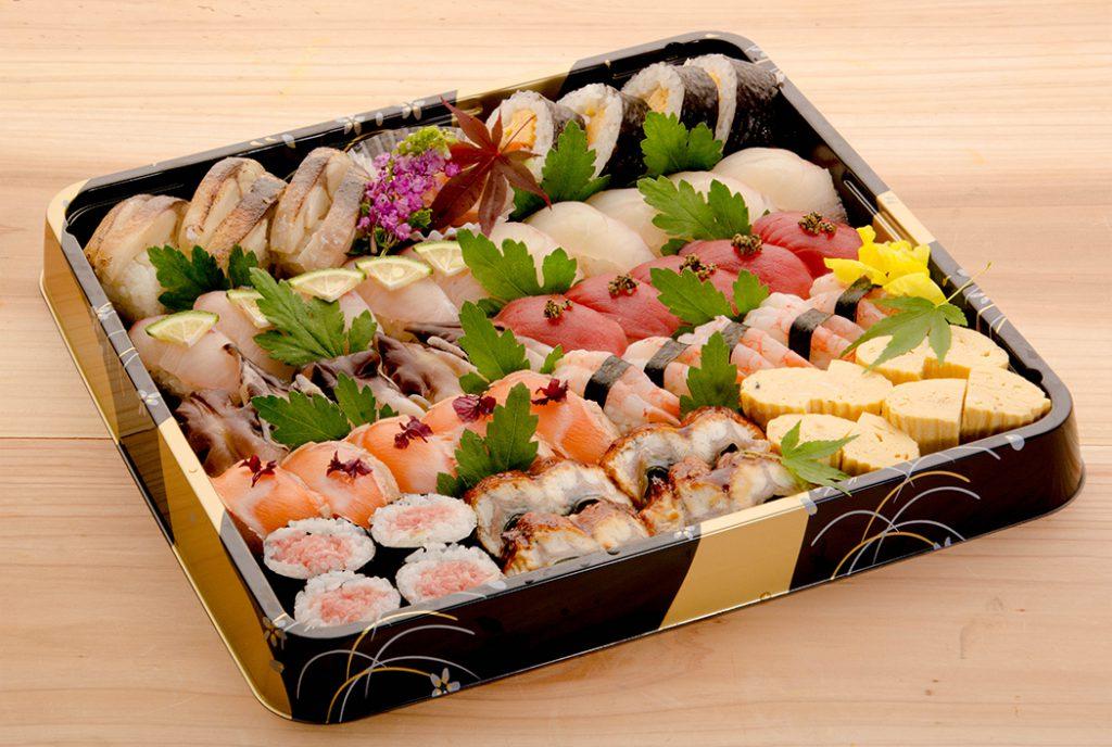 綾部の料亭 ゆう月 オードブル 寿司 最上級 中とろ 車海老 鳥貝