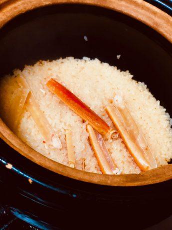 綾部の料亭 ゆう月の蟹飯 土鍋炊き