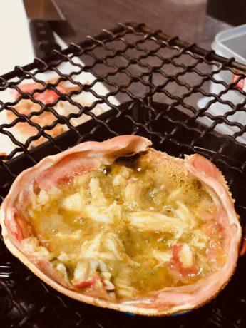 綾部の料亭 ゆう月 蟹ご飯の甲羅炙り