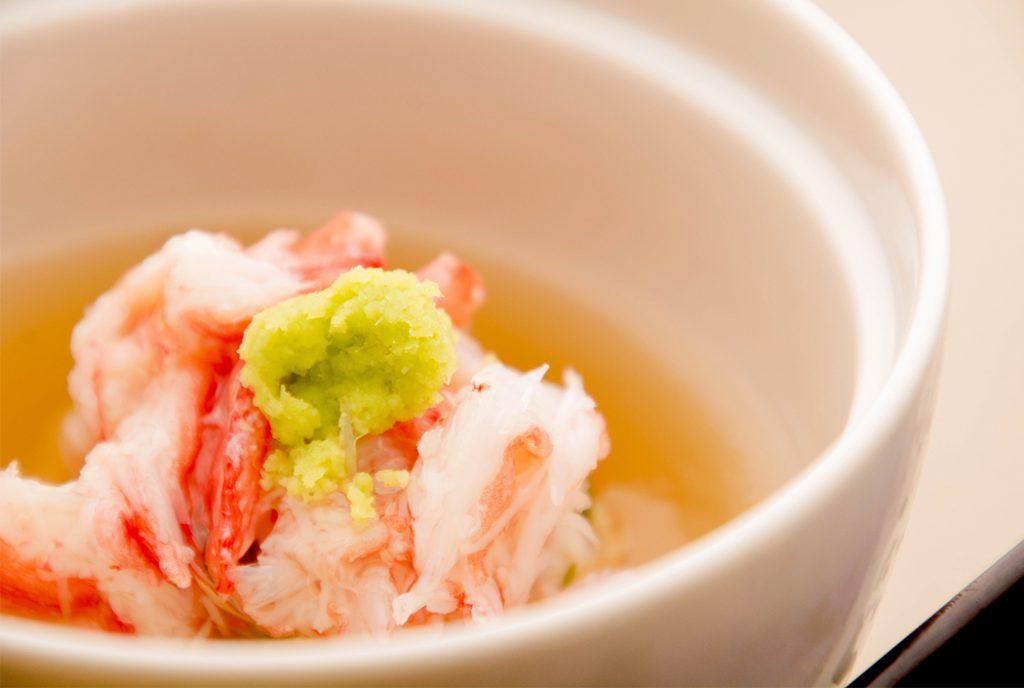 綾部の料亭 ゆう月 12月の会席料理 忘年会用 蒸し物 かぶら蒸し 紅ずわい蟹