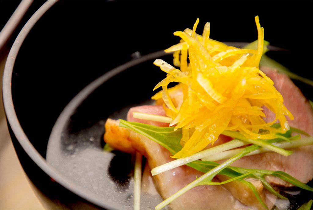綾部の料亭 ゆう月 12月の会席料理 忘年会用 お吸い物お吸い物 鴨