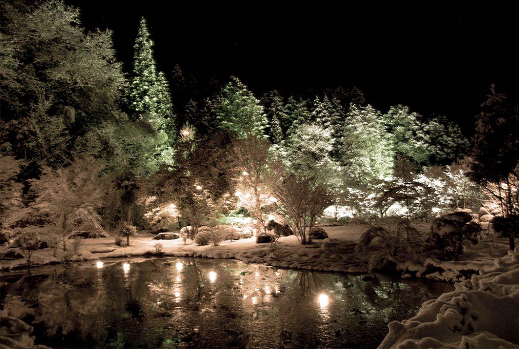 綾部の料亭 ゆう月 別館 忘年会 送別会向け鍋料理スペースの庭園ライトアップ イルミネーション