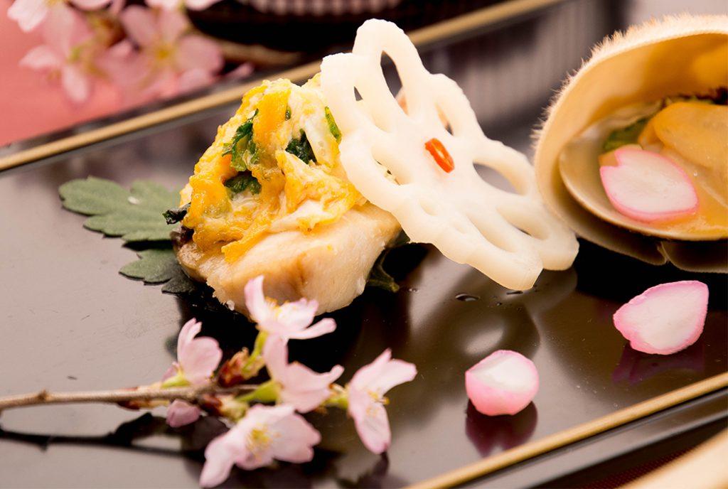 綾部の料亭 ゆう月 春の会席 桜 お花見 鰆の菜種焼き 酢味噌掛け