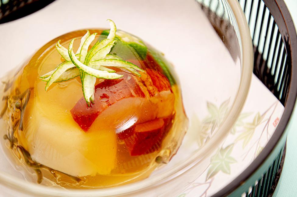 綾部の和食の店 ゆう月 夏 お盆の会席料理 合鴨 夏野菜 ゼリー寄せ