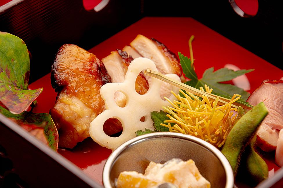 綾部の料亭 ゆう月 秋の会席料理 上林鶏 吹き寄せ盛り