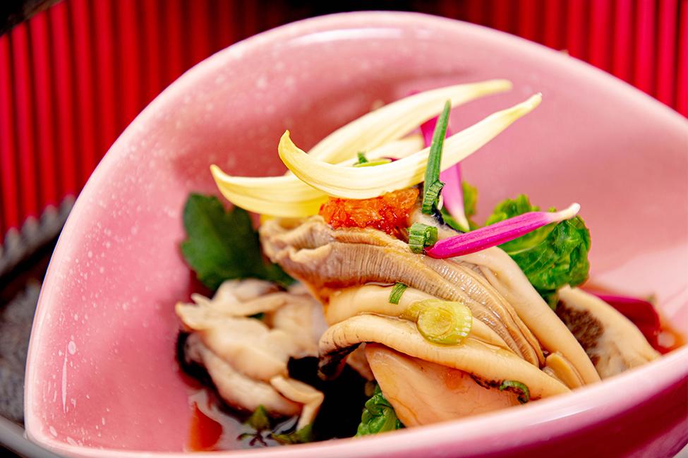 和食の店 ゆう月 冬の会席 カキの酢の物 ポン酢