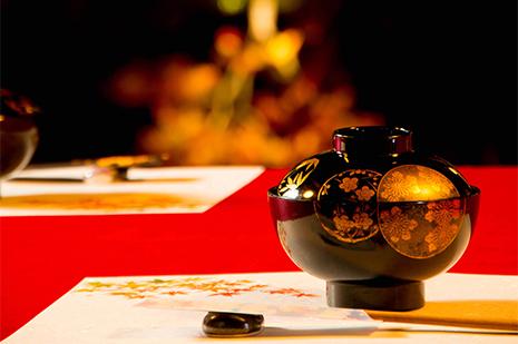 綾部の料亭 ゆう月 紅葉のお席 お椀