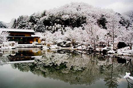 綾部の料亭 ゆう月 庭園 雪景色