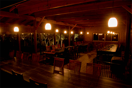 綾部の料亭 ゆう月 別館のお席の案内 鍋料理 ビアガーデン
