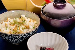 綾部の料亭 ゆう月 6月の会席料理 ご飯 ちりめんご飯 ちりめん山椒