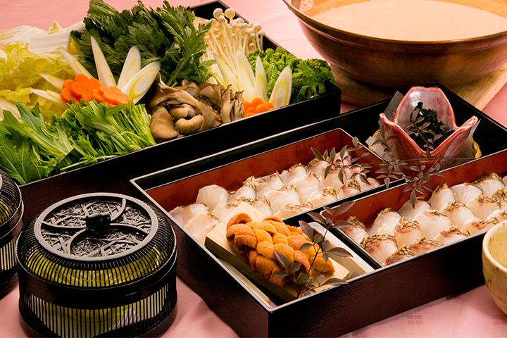 綾部の料亭 ゆう月 鍋料理 真鯛のウニしゃぶ鍋画像