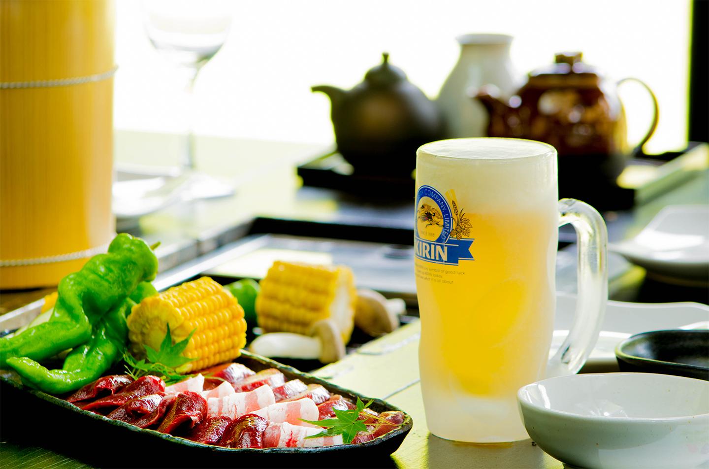 綾部の料亭 ゆう月 別館 夏季限定 ビアガーデン バーベキュー 生ビール