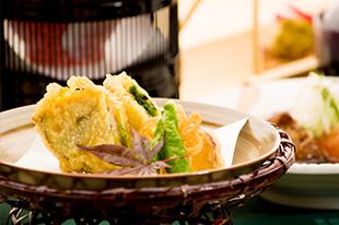 京都 綾部 ゆう月 会席料理 9月 芙蓉会席 天ぷら 海老のはさみ揚げ 賀茂茄子