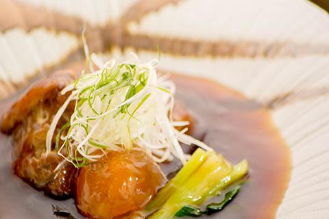 京都 綾部 ゆう月 会席料理 9月 芙蓉会席 焚合 豚の角煮 あんかけ