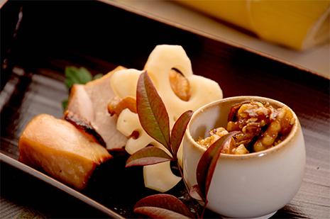 綾部の料亭 ゆう月 忘年会 12月の会席料理 焼き物 上林鶏 西京焼き