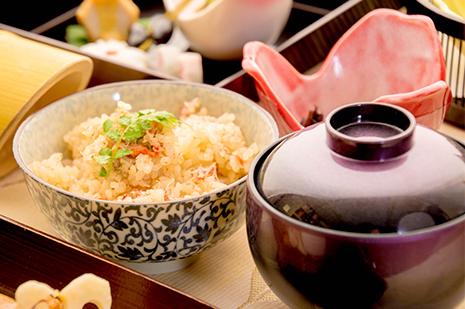 綾部の料亭 ゆう月 忘年会用 12月の会席料理 蟹ご飯