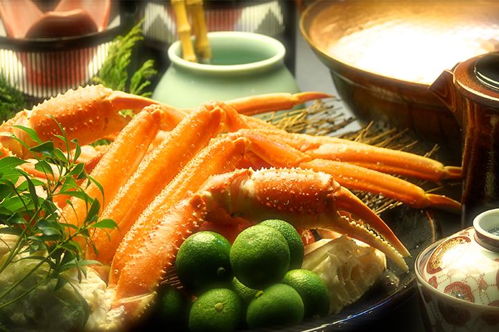 綾部の料亭 ゆう月 本館の鍋料理 カニすき鍋 松葉蟹