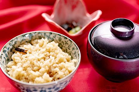 綾部市の和食レストラン ゆう月の秋の会席料理 きのこご飯 炊き込み