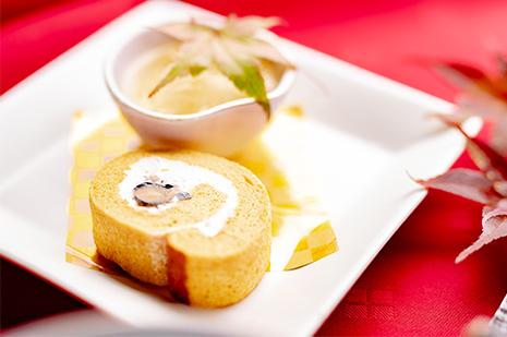 綾部市の和食レストラン ゆう月の秋の会席料理 スイーツ ロールケーキ