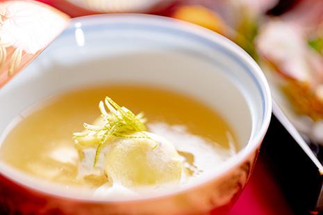 綾部市の和食レストラン ゆう月の秋の会席料理 丹波蒸し あんかけ