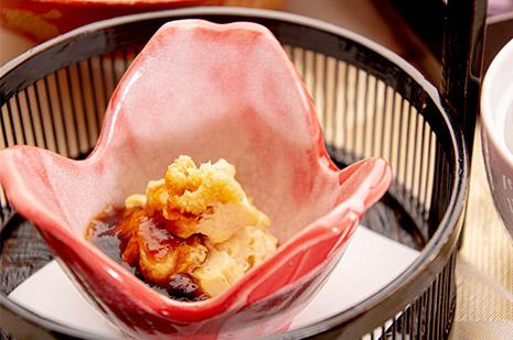 綾部の料亭 ゆう月 秋の会席料理のページ 和食料理の先付け 汲み上げ湯葉