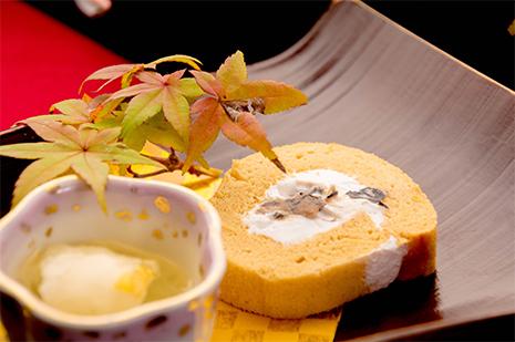 綾部の料亭 ゆう月 秋の会席料理 デザート スイーツ ロールケーキ