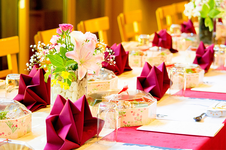 綾部の料亭 ゆう月 おもてなし 披露宴のお席