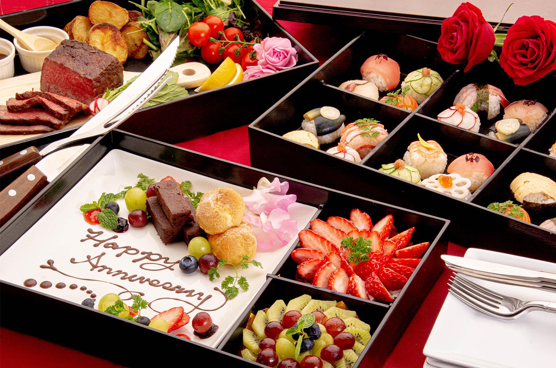 綾部の和食レストラン ゆう月のケータリング お祝いパーティー 手まり寿司 ローストビーフ スイーツ