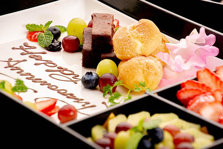 綾部の和食レストラン ゆう月のケータリング お祝いパーティー スイーツ ケーキ タルト