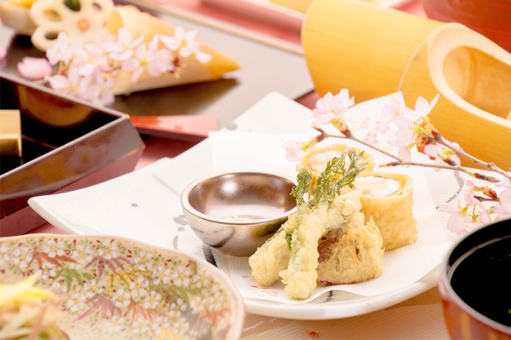 綾部の料亭 ゆう月 歓迎会 送別会 お花見に最適な春の会席料理 湯葉 天ぷら