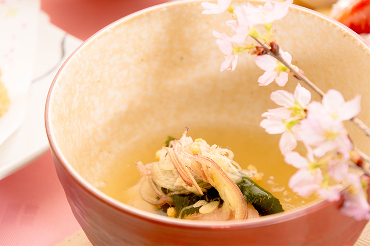 綾部の料亭 ゆう月 歓迎会 送別会 お花見に最適な春の会席料理 桜蒸し