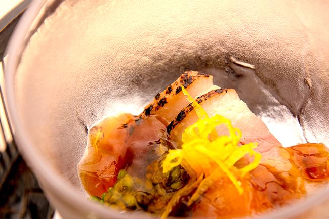 綾部の料亭 ゆう月 春の会席料理 酢の物 合鴨 ポン酢 ジュレ
