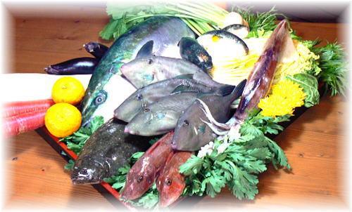 冬の食材(ブリ・カワハギ・いか・フグ・聖護院かぶら 金時人参 大根 菊菜 京水菜 海老芋)をご紹介しています。