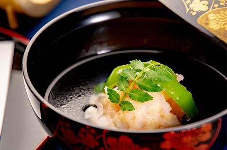 綾部のレストラン ゆう月 会席料理 法事 初盆 京野菜 お吸い物