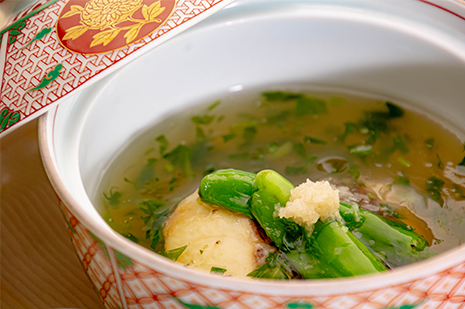 綾部市の和食レストラン ゆう月の6月の会席料理 京野菜 加茂茄子のあんかけ
