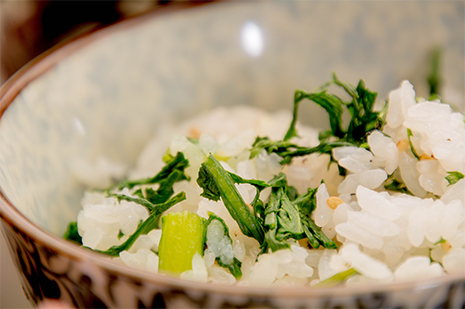 綾部の料亭 ゆう月 1月2月の冬の会席料理 菊菜ご飯
