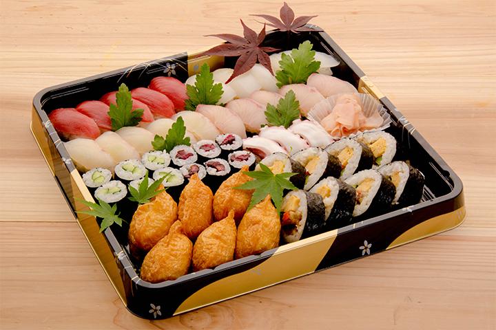 綾部の料亭 ゆう月 仕出し 寿司盛り合わせ 精進あげ 会合