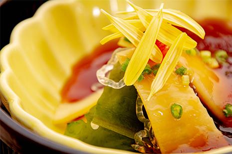 綾部の和食の店 ゆう月の春の料理 たけのこ ゆば ポン酢