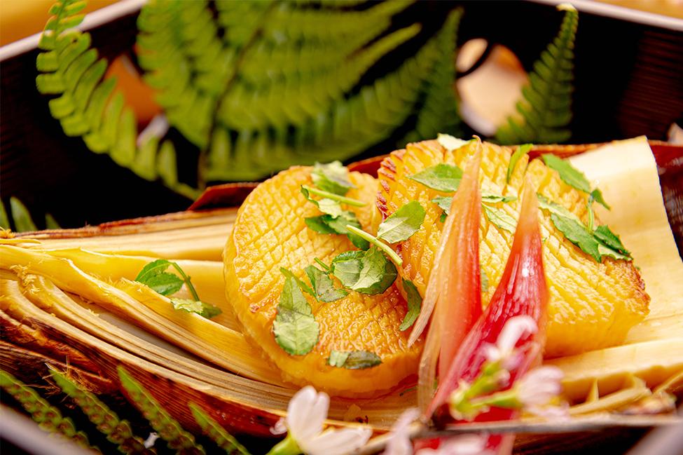 綾部の和食の店 ゆう月の春の料理 筍の木の芽焼き
