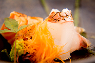 綾部 料亭 ゆう月 秋 会席料理 会席料理 紅葉 忘年会 刺身 造り 熟成 鯛 サーモン