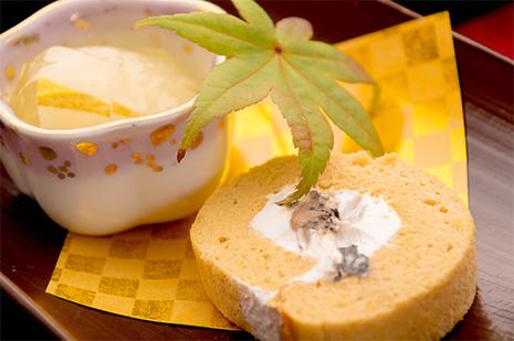 綾部の料亭 ゆう月 秋の会席料理 デザート ロールケーキ