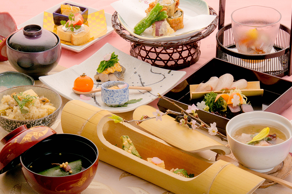 綾部の料亭 ゆう月 春の会席料理 お花見 桜 歓迎会 送別会