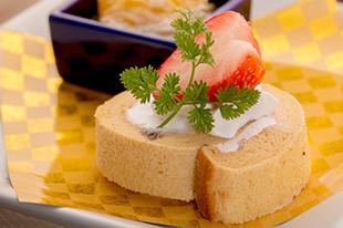 綾部の料亭 ゆう月 春の会席料理 デザート ロールケーキ 和三盆